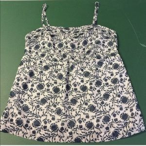 New Gray & Navy Floral Print Loft Tank Top XXS